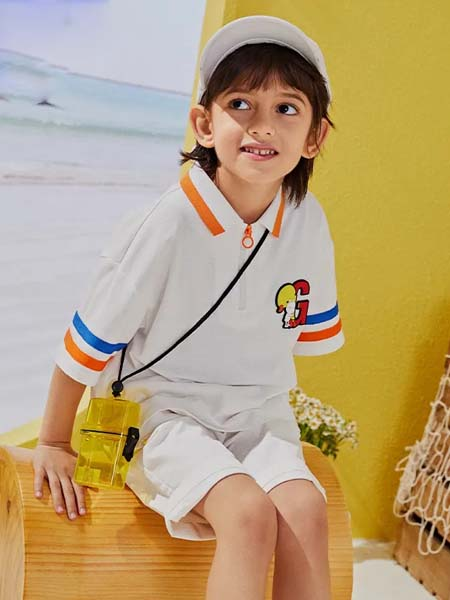 gxg.kids童装品牌2020春夏白色T恤橙边