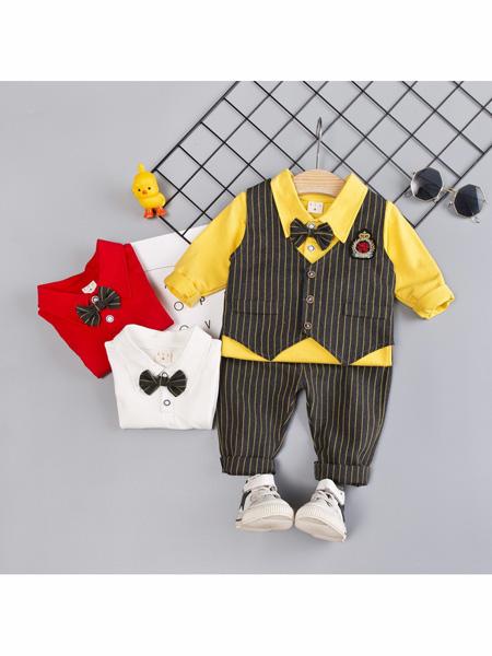 依霓童装品牌2020春夏套装新款儿童马甲西装外套礼服外贸长袖棉三件套
