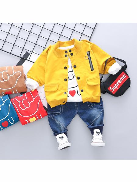 依霓童装品牌2020春夏童套装 棒球服牛仔裤三件套童装0-4岁宝宝