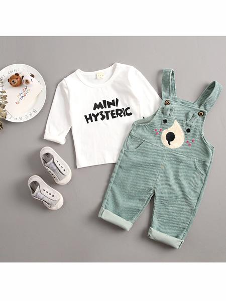 依霓童装品牌2020春夏新款灯芯绒长袖背带裤套装休闲童装中小童两件套