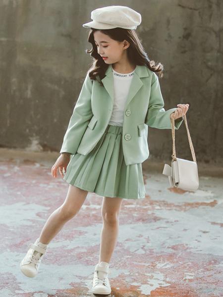 一米阳光童装品牌2020春夏韩版洋气西服春秋大童儿童装小西装两件套潮