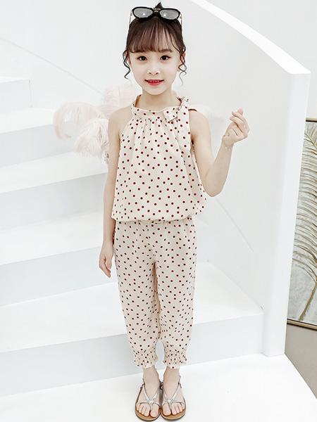 一米阳光童装品牌2020春夏新款儿童超洋气网红女孩夏季时髦潮衣两件套
