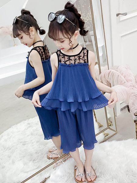 一米阳光童装品牌2020春夏儿童时髦衣服女孩上衣阔腿裤雪纺两件套