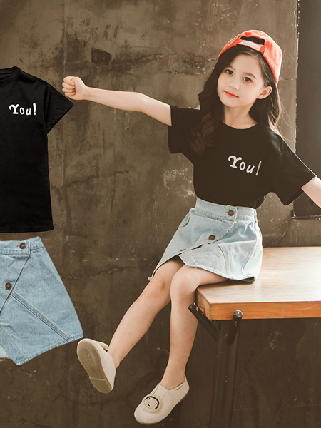 一米阳光童装品牌2020春夏儿童时尚运动短袖套装女大童洋气夏季童装时髦潮