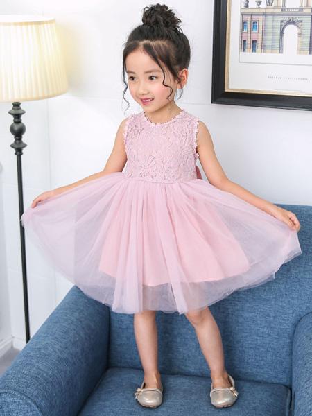 一米阳光童装品牌2020春夏新款洋气韩版中大女童公主裙后背蝴蝶结演出服
