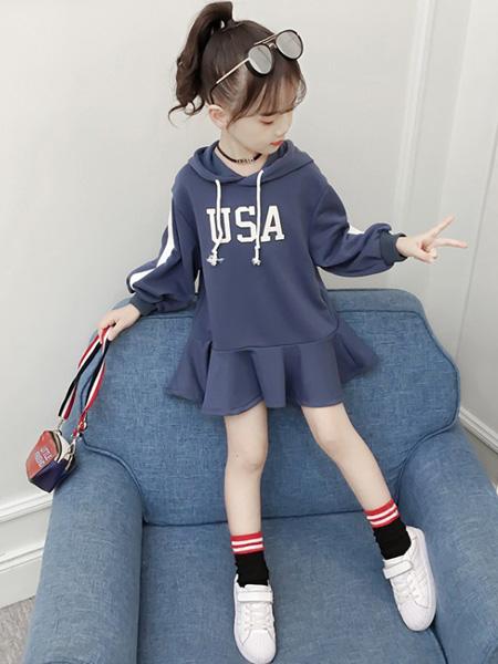 一米阳光童装品牌2020春夏新款韩版洋气中大女童卡通连衣裙连帽上衣