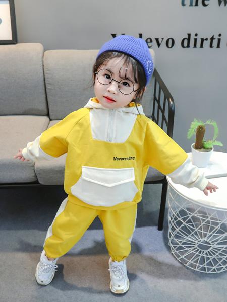 雨朵童装品牌2020春夏女童儿童中小童装拼接大口袋卫衣套装潮