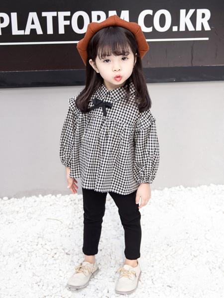 雨朵童装品牌2020春夏新款女童中大童装翻领格子衬衫两件套