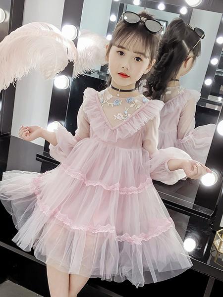 雨朵童装品牌2020春夏女童儿童中大童装V领纱裙连衣裙公主裙