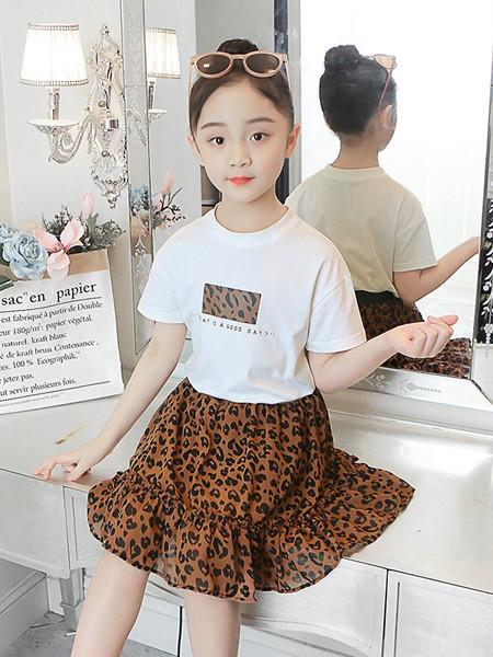 雨朵童装品牌2020春夏女童儿童中大童装豹纹裙套装洋气两件套