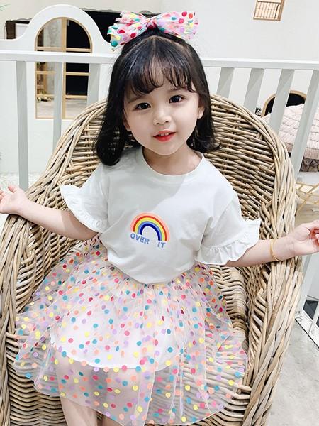 雨朵童装品牌2020春夏新款女童儿童中小童装洋气彩虹圆点纱裙套装