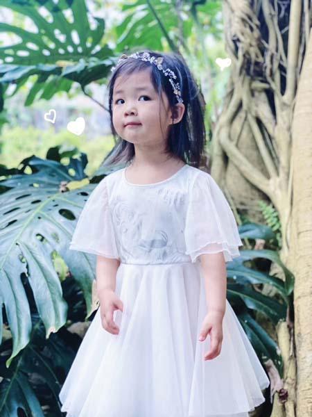 贝甜童装品牌2020春夏网纱白色公主裙