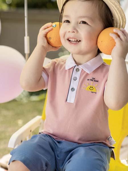 阿卡邦童装品牌2020春夏白领粉色T恤