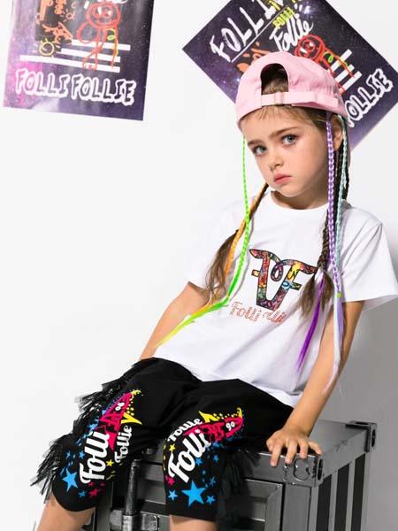 Folli Follie童装品牌2020春夏白色T恤黑色短裤