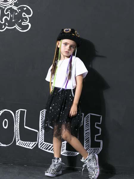 Folli Follie童装品牌2020春夏白色T恤网纱短裙