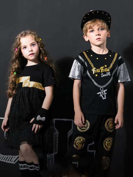 Folli Follie童装品牌2020春夏男女童黑色项链印花T恤