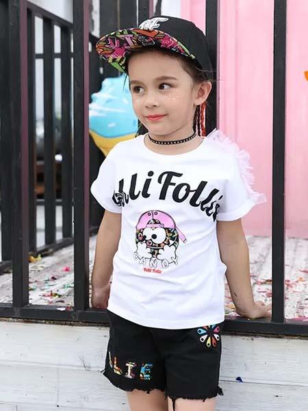 Folli Follie童装品牌2020春夏字母白色T恤