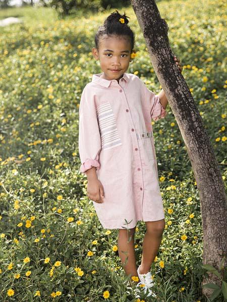 棉绘童装品牌2020春夏圆领长款衬衫连衣裙