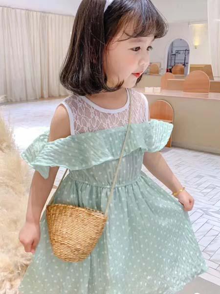 班比奇童装品牌2020春夏圆领网纱绿色连衣裙