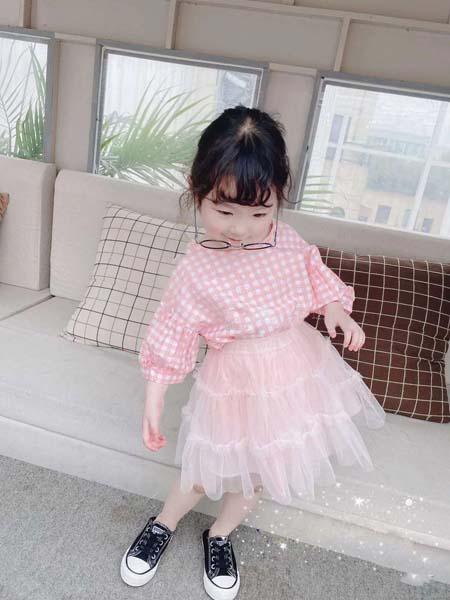 班比奇童装品牌2020春夏格纹粉色上衣