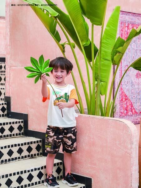 德蒙斯特童装品牌2020春夏橙色袖子T恤