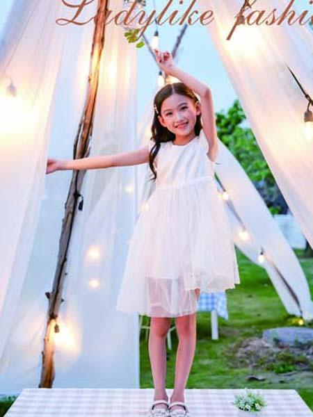 德蒙斯特童装品牌2020春夏白色网纱连衣裙无袖