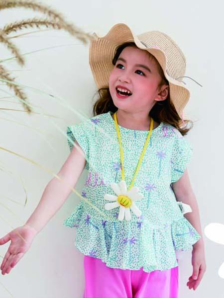 德蒙斯特童装品牌2020春夏波点绿色假裙