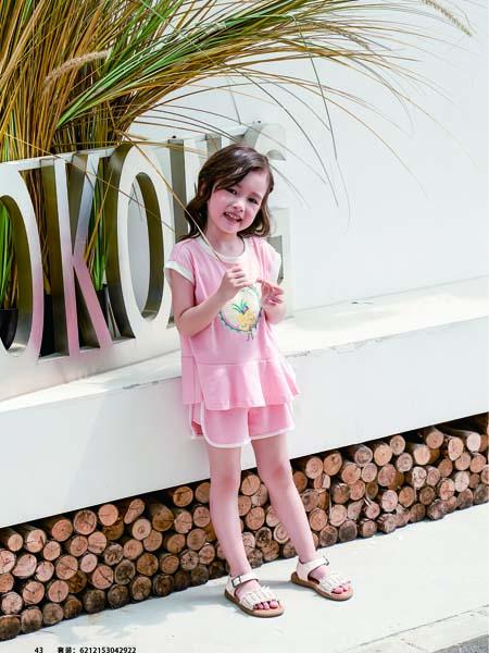 德蒙斯特童装品牌2020春夏粉色T恤短裤