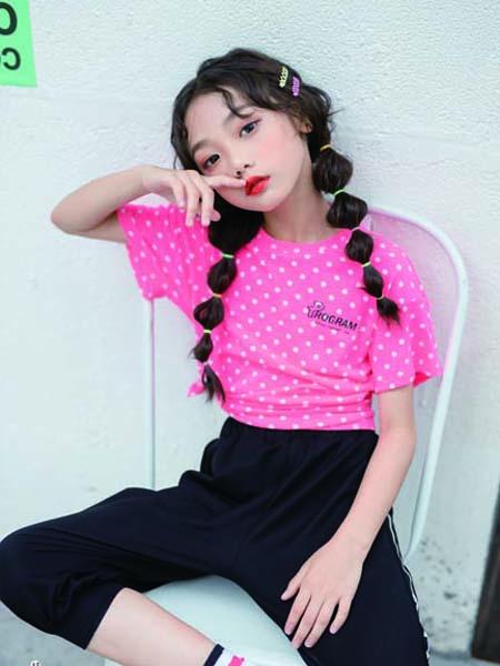 德蒙斯特童装品牌2020春夏波点紫粉色T恤