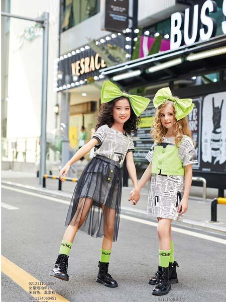 卡儿菲特童装品牌2020春夏T恤长款网纱黑色裙罩