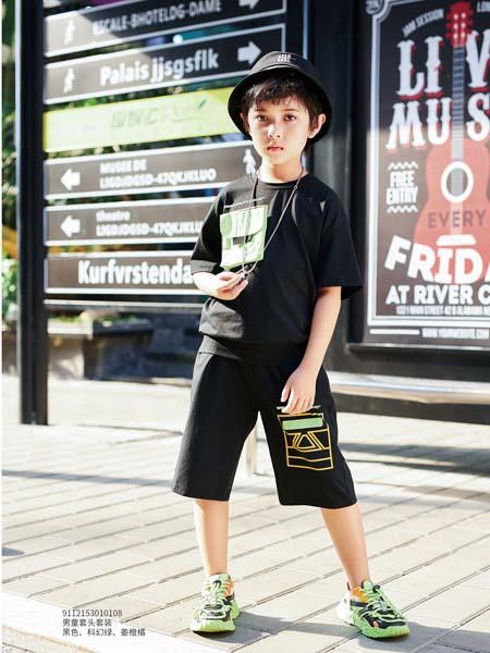 卡儿菲特童装品牌2020春夏黑色T恤休闲短裤