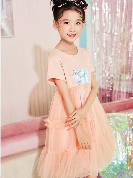 卡儿菲特童装品牌2020春夏浅橘色T恤纱网裙
