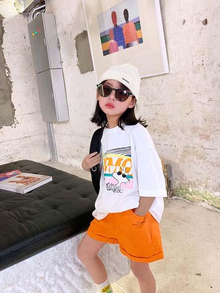 安墨Ammo童装品牌2020春夏白色T恤卡通动物
