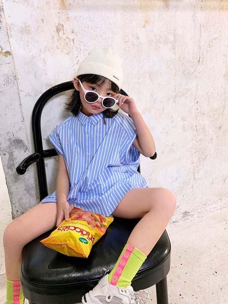 安墨Ammo童装品牌2020春夏条纹连衣裙蓝色