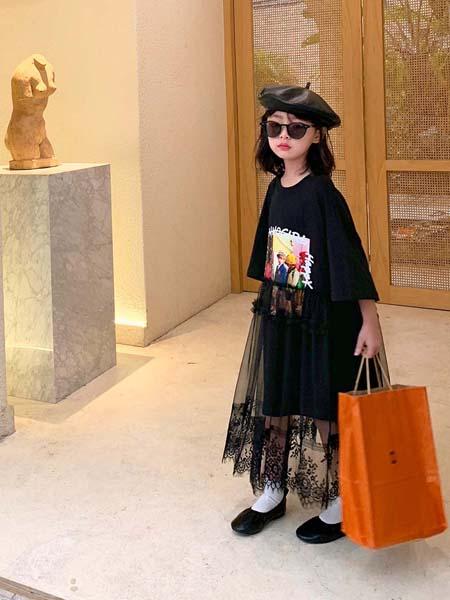 安墨Ammo童装品牌2020春夏黑色连衣裙网纱