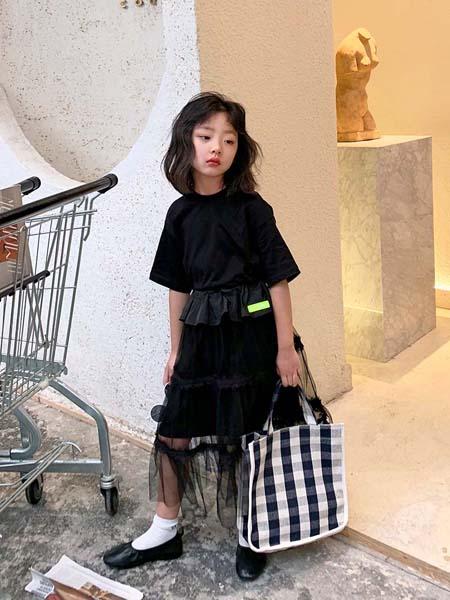 安墨Ammo童装品牌2020春夏黑色连衣裙黑色网纱纯色