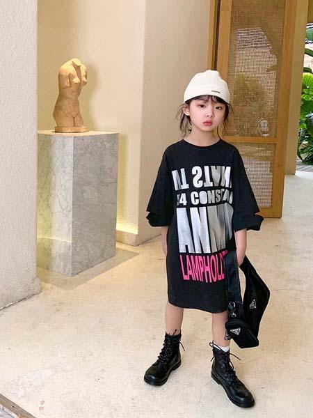 安墨Ammo童装品牌2020春夏字母黑色连衣裙
