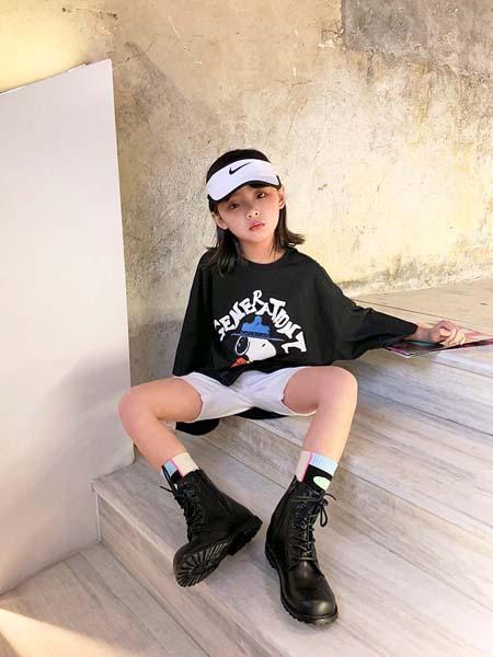 安墨Ammo童装品牌2020春夏兔子黑色T恤