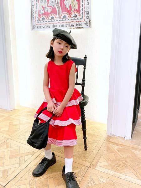 安墨Ammo童装品牌2020春夏红色无袖连衣裙