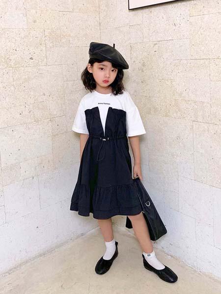 安墨Ammo童装品牌2020春夏黑色连衣裙拼接白T恤