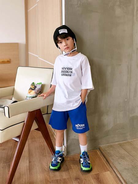Outride越也童装品牌2020春夏白色T恤字母