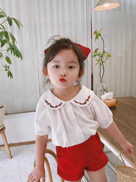 麦田季童装品牌2020春夏新款韩国童装女童娃娃领花朵刺绣衬衫短袖全棉上衣女