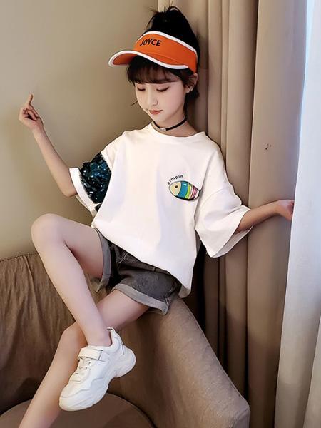 金鱼童装品牌2020春夏新款儿童短袖套装中大童夏季两件套
