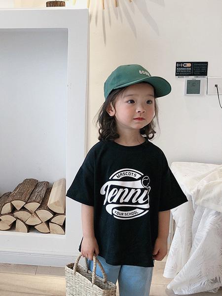酷君童装品牌2020春夏夏款T恤 儿童字母印花短袖男女童韩版圆领宽松棉质上衣