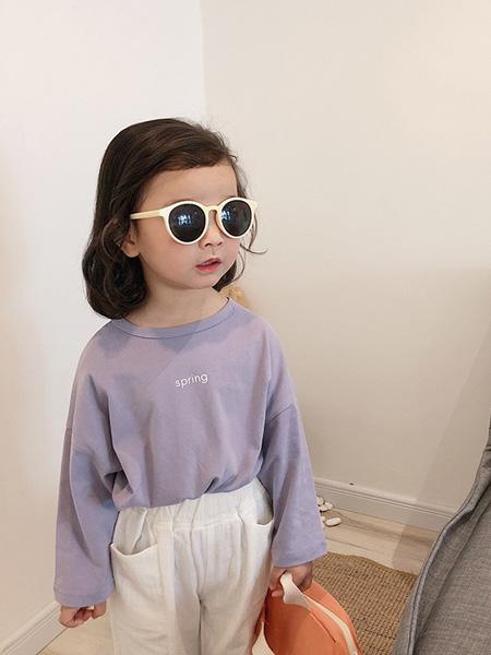酷君童装品牌2020春夏儿童字母长袖T恤 女童长袖圆领打底衫韩版