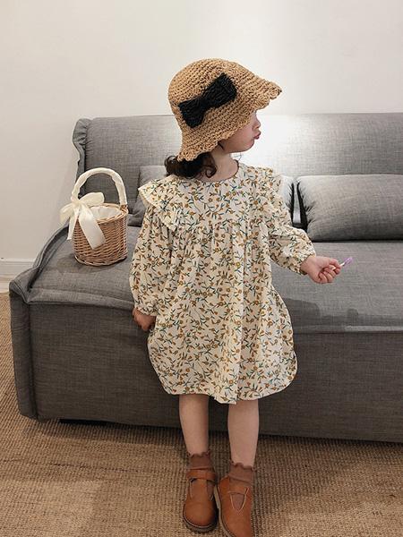 酷君童装品牌2020春夏女童宝宝长袖韩版棉麻碎花娃娃连衣裙儿童气质公主裙