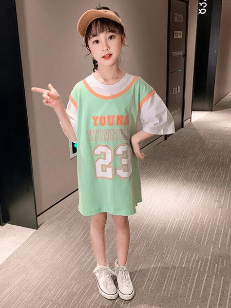 蒋平华童装品牌2020春夏假两件女中大童运动球服半袖字母t恤裙