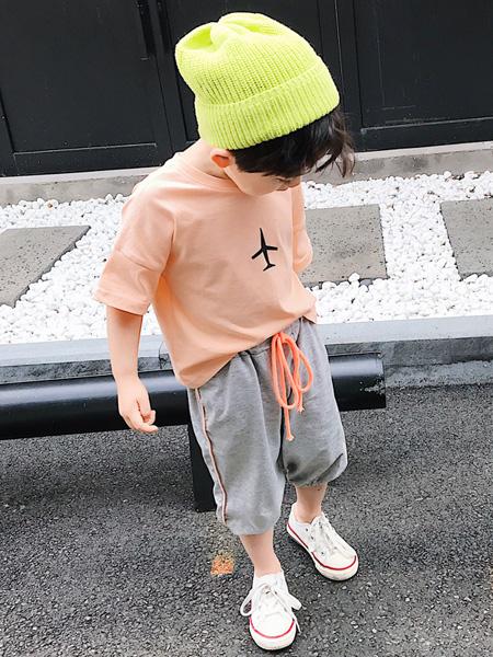 蒋平华童装品牌2020春夏新款韩版中小童飞机短袖套装时尚休闲宝宝纯棉两件套