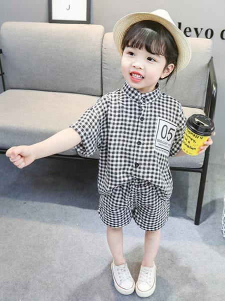 蒋平华童装品牌2020春夏男女童透气短袖短裤两件套宝宝纯棉格子套装