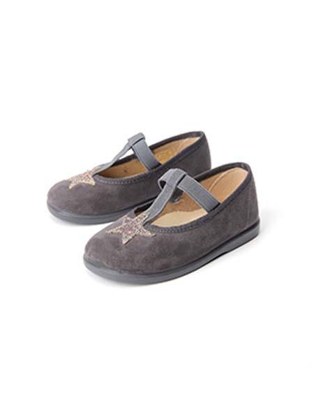 DONSJE童鞋品牌春夏五角星深灰色皮鞋